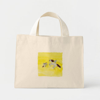Childish Watercolor drawing with Winged Horses Mini Tote Bag