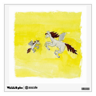 Childish Watercolor drawing with Winged Horses Wall Decal