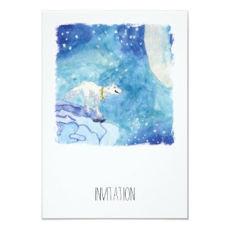 Childish Watercolor painting with snowy wolf Card