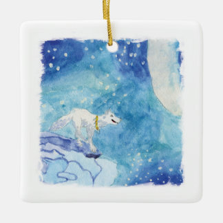 Childish Watercolor painting with snowy wolf Ceramic Ornament