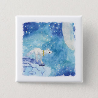 Childish Watercolor painting with snowy wolf Pinback Button