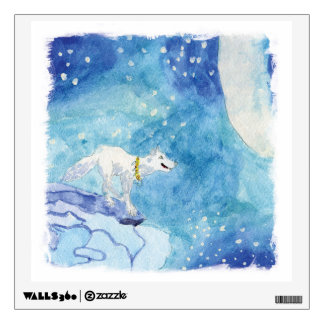 Childish Watercolor painting with snowy wolf Wall Sticker