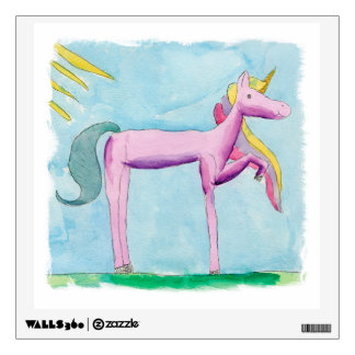 Childish Watercolor painting with Unicorn horse Wall Sticker