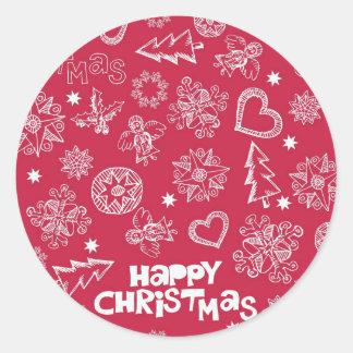 Childlike Christmas doodles Classic Round Sticker