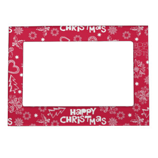 Childlike Christmas doodles Picture Frame Magnets