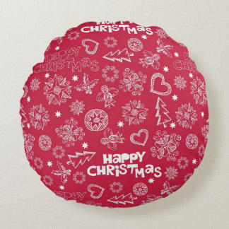 Childlike Christmas doodles Round Pillow