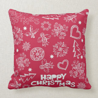 Childlike Christmas doodles Pillow