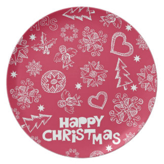 Childlike Christmas doodles Party Plates