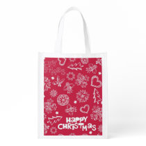 Childlike Christmas doodles Reusable Grocery Bag