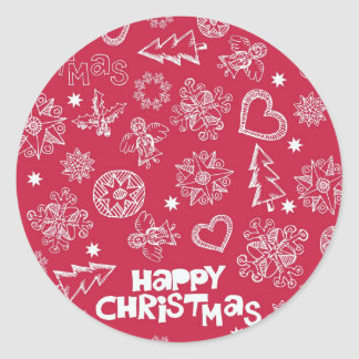 Childlike Christmas doodles Round Stickers