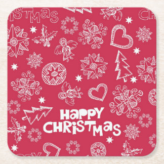 Childlike Christmas doodles Square Paper Coaster