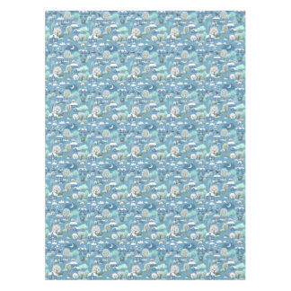 Childlike Winter Scene In Blues  Cotton Tablecloth