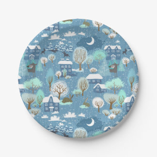 "Childlike Winter Scene in Blues Holiday 7"" Plates"