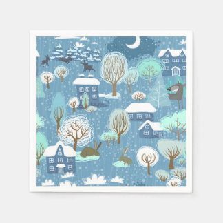 Childlike Winter Scene in Blues Holiday Cocktail Napkin
