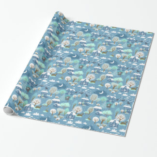 Childlike Winter Scene in Blues Wrapping Paper