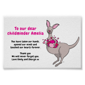 Childminder thank you kangaroo hearts poster