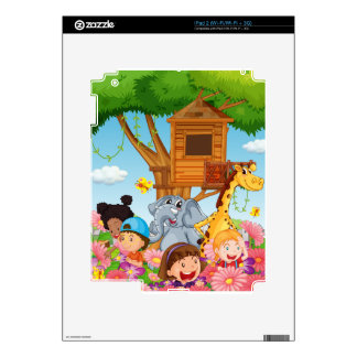 Children and animals in the garden iPad 2 decal