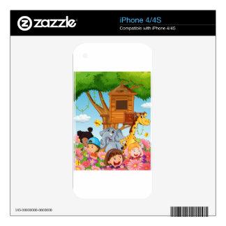 Children and animals in the garden iPhone 4 skins
