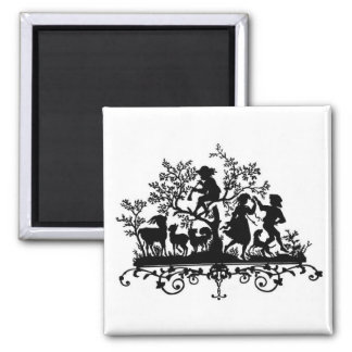 Children and Animals Silhouette 2 Inch Square Magnet
