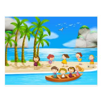 Children and beach postcard
