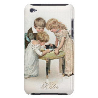 Children and Cat Vintage Barely There iPod Cover