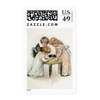 Children and Cat Vintage Postage Stamps