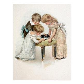 Children and Cat Vintage Postcard