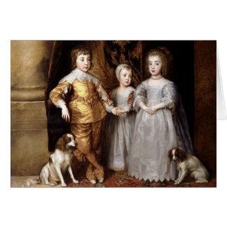 Children and Cavalier Spaniels Vintage Card