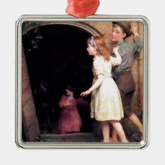 Children and cellar scary place painting metal ornament
