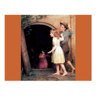 Children and cellar scary place painting postcard