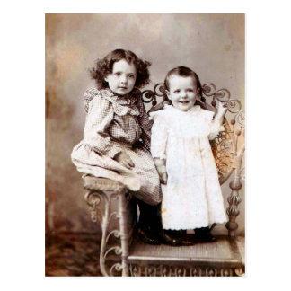 Children and chair postcard