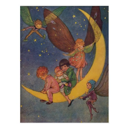 Children and Fairies Ride the Moon Postcard
