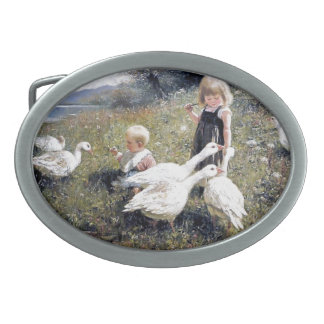 Children and Geese painting Belt Buckle