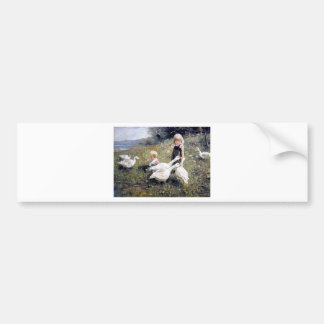 Children and Geese painting Bumper Sticker