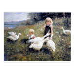 Children And Geese Painting Postcard at Zazzle