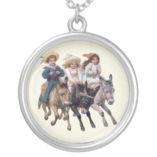 Children and Horses Silver Plated Necklace