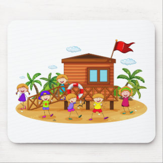 Children and hut mouse pad