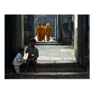 Children and Monks at Temple Postcard