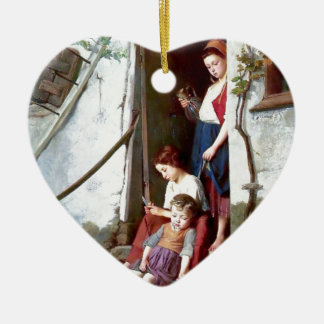 Children and rooster with hens painting ornament