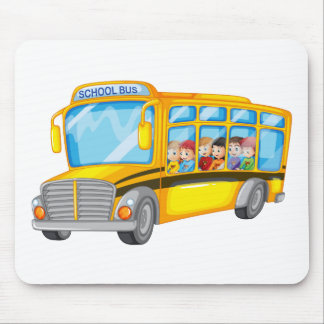 Children and school bus mouse pad