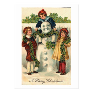 Children and Snowman Card Post Cards