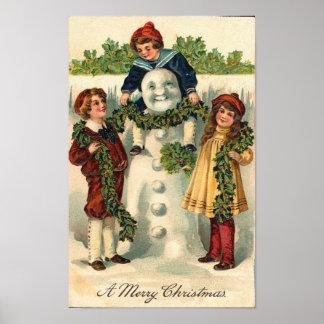 Children and Snowman Card Print