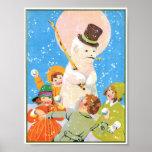 Children and Snowman Poster