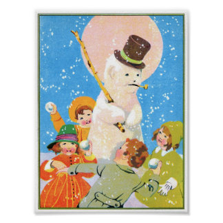Children and Snowman Poster