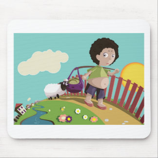 children and the sheep mouse pad