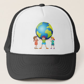 Children and the world trucker hat