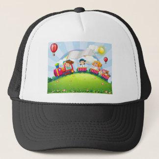 Children and train trucker hat