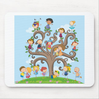 Children and tree mouse pad