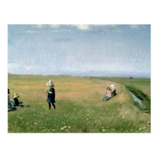 Children and Young Girls picking Flowers Postcards