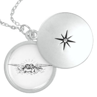 CHILDREN ANGELS WITH WINGS LOCKET NECKLACE